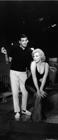 Frankie Vaughan and Marilyn on the set of Let's Make Love, 1960.