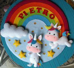 annuncio ghirlanda fiocco nascita unicorni birth