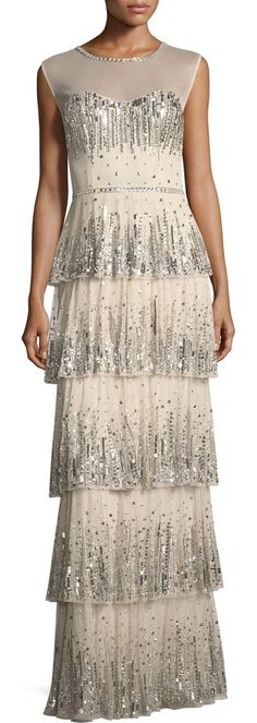"""Embellished Five-Tier Long Evening Gown by Aidan Mattox. Aidan Mattox embellished tiered long evening gown. Approx. 57.3""""L down center back. Round neckline; button-keyhole back. Sleeveless; moderate shoulder coverage. Embellished bodice and skirt. Column silhouette. Floor-length hem. Five-tier... #aidanmattox #dresses #gowns"""