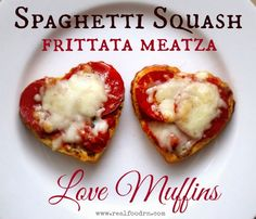 Spaghetti Squash Frittata Meatza Love Muffins. Healthy gluten-free personal little pizzas. Make ahead and freeze for a quick and healthy snack. Kid favorite!