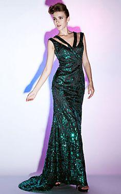 Sequined Sheath/Column V-neck Floor-length Evening Dress ins... – USD $ 195.99