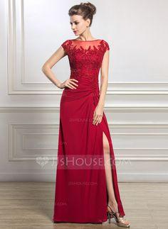 [R$ 645.15] Tubo Decote redondo Longos Tecido de seda Vestido para a mãe da noiva com Pregueado Beading Apliques de Renda lantejoulas Frente aberta (008056834)