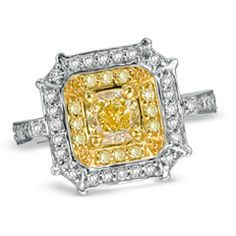 1-1/7 CT. T.W. Radiant-Cut Fancy Yellow and White Diamond Frame Engagement Ring in 18K White Gold