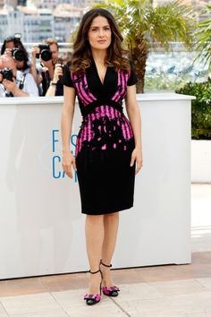 Salma Hayek in a dress from Bottega Veneta's pre-autumn/winter 2014 collection.