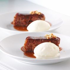 Easy sticky date pudding recipe. Serve this dessert warm with cold vanilla ice cream at your next dinner party! Sticky Date Pudding, Butterscotch Sauce, Salt Flakes, Cake Tins, Vanilla Ice Cream, Pudding Recipes, Baking Pans, Easy Meals, Baking Ideas