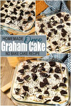 Oreo Graham Cake - No Bake Cake ( 4 Ingredients Recipe ) How To Make Oreo Cake or Oreo Graham Cake No Bake Recipe. Oreo Graham Cake is Made of 4 Ingredients: Graham Crackers, Oreo Cookies, All Purpose Cream and Condensed Milk. A Simple Cake Recipes for any Occasions. #Oreograhamcake #oreocake #nobakecake Easy To Make Desserts, Easy Cake Recipes, Baking Recipes, Desserts Menu, No Bake Desserts, Dessert Recipes, Oreo Cake, Oreo Cookies, Graham Cracker Crumbs