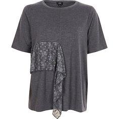 Dark grey lace frill T-shirt
