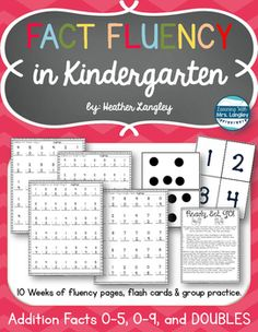Addition Fact Fluency Kindergarten: Addition to 5, 0-9 and Doubles included.  Fun fact fluency games and lots of practice pages for consistent practice!