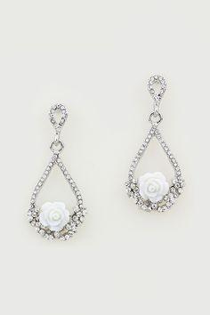White Rose Earrings in Silver