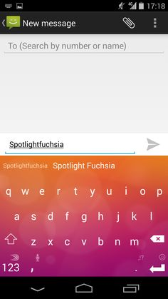Spotlight Fuchsia, a blend of oranges, pinks and purples! Find it on the SwiftKey Store, available on Android.