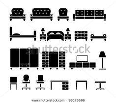 Furniture. Vector icon set by Z-art, via Shutterstock