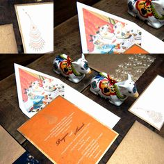 Ring Ceremony - Engagement Invitation - Cow design laser printing and pichvai -theme dedicated to krishna