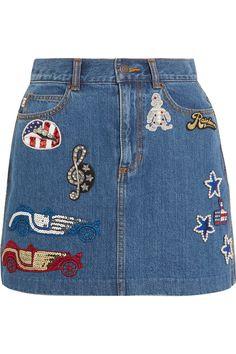 Marc Jacobs   Embellished appliquéd denim mini skirt   NET-A-PORTER.COM