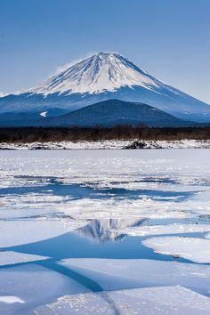 Mount Fuji in the ice, Lake Shoji, Yamanashi, Japan