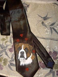 Boxer Dog Custom Painted Necktie Men's Tie by daniellesoriginals, $32.00