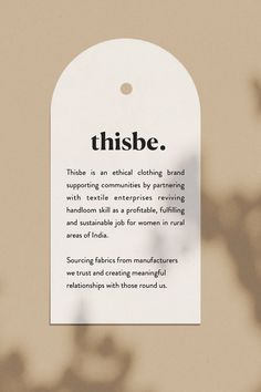 Do you have your own business? In order to market it successfully, you need a beautiful authentic and unique brand. Thisbe is an ethical clothing brand supporting communities by partnering with textile enterprises reviving handloom skill as a profitable. Packaging Inspiration, Typography Inspiration, Typography Design, Lettering, Brand Packaging, Packaging Design, Tea Packaging, Label Design, Print Design