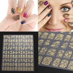 Chinatera 108Pcs(One Sheet) 3D DIY Self-adhesive Design Nail Art Stickers Flower Manicure Nail Decals Glitters Decorations Tips (Golden) ** Want additional info? Click on the image. (Note:Amazon affiliate link)