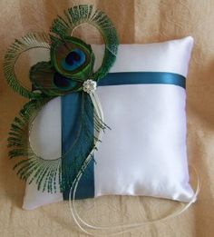 Peacock Feathers and Teal Wedding Ring Bearer...