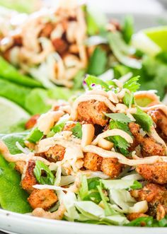 These Jamaican Jerk Chicken Lettuce Wraps are spicy, delicious and super healthy. Perfect for a light lunch or dinner.
