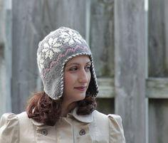 Knit Ear Flap Hat Women Gray Norwegian pattern style