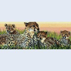 Leopard Family - counted cross-stitch kit  Royal Paris