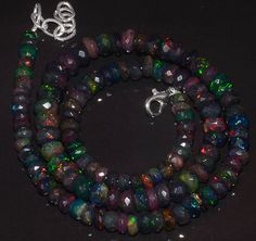 """87CRTS 5to7.5MM 18"""" BLACK ETHIOPIAN OPAL RONDELLE FACETED BEADS NECKLACE OBI2912 #OPALBEADSINDIA"""