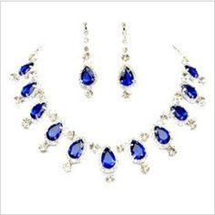 Online Shop Free Shipping New Style Clear Glaring Crystal Rhinestones Sapphire Blue Wedding Bridal Jewelry Set Necklace Earrings BJ098|Aliexpress Mobile