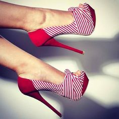 Hot or what: red nautical style stilettos #shoes #style #pinterest