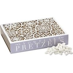 Snowflake pretzels- can be used to decorate cupcakes perhaps?