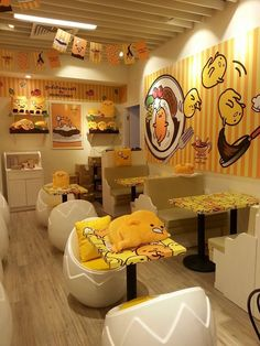 """""Izumi Curry"" a restaurant in Hong Kong transformed into ""Gudetama"" café. Src. X"" Cafe Interior, Interior Design, Lazy Egg, Kawaii Shop, Cute Japanese, Cafe Design, Mellow Yellow, Cute Food, Room Decor"