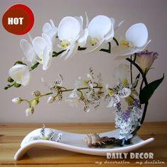 Высокая моделирования ручной икебана искусственные цветы орхидеи композиции настоящее сенсорный латекс орхидея доставка-цветоводство пот культура костюмы