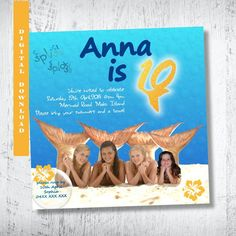 H20 Just Add Water Photo Invitation.H2O Birthday by WBevents