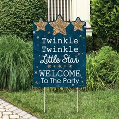 Twinkle Twinkle Little Star – Party Decorations – Birthday Party or Baby Shower Personalized Welcome Yard Sign - Baby Birthday Party Baby Shower Decorations For Boys, Boy Baby Shower Themes, Baby Shower Gender Reveal, Baby Shower Centerpieces, Baby Boy Shower, Star Wars Party, Star Party, X 23, Decoration Birthday Party