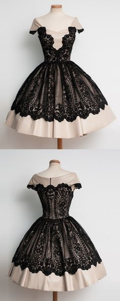 vintage homecoming dresses, cap sleeves homecoming dresses, cheap homecoming dresses, dresses for homecoming, champagne prom dresses with black lace