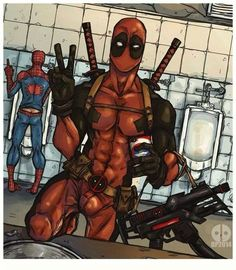 Me(dead pool)and my bestie (spider man)best friend goals A.F