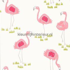 Scion Felicity Flamingo Blancmange/Chalk Wallpaper - 111277 - Guess Who Wallpapers Collection Flamingo Wallpaper, Kids Wallpaper, Modern Wallpaper, Wallpaper Roll, Designer Wallpaper, Coastal Wallpaper, All Things Fabulous, Wallpaper Online, Pink