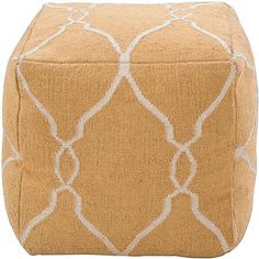 dhurrie cube pouffe ottoman, yellow to offset the rug