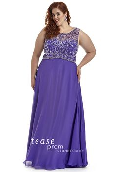 Style and comfort meet in this plus size #purple prom gown. The mock two-piece #illusion bodice is all the rage for 2016 prom. Tease Prom Style TE1604.