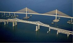 Sunshine Skyway Bridge over Tampa Bay Map Of Florida Beaches, Old Florida, Vintage Florida, Florida Vacation, Central Florida, Florida Maps, Sunshine Skyway Bridge, Anna Maria Island, Vacation Destinations