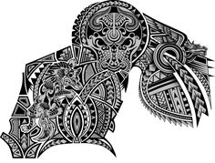 Polynesian Maori Tribal Half Sleeve Chest Wolf Dragon Bull Tattoo Design. Designer: Andrija Protic