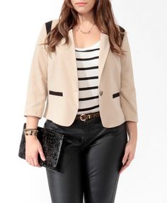Contrast Trim Cutaway Blazer | FOREVER21 PLUS - 2015567955    Who doesn't need a cutaway blazer? Get it now for only $29.80 ;)