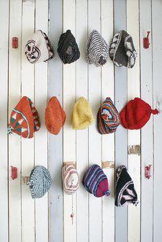 #knit and #crochet beanies display fom Wood & Wool Stool