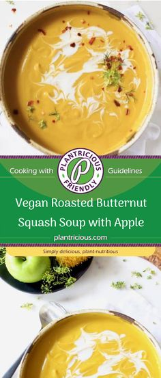 The best vegan roasted butternut squash soup with apple recipe ever. It's super creamy, easy to make, gluten free, healthy and loaded with flavor. It absolutely belongs on your Thanksgiving table and should be on rotation all fall and winter long.