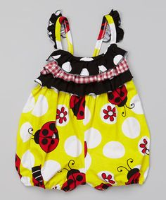 This Yellow Ladybug Ruffle Bubble Romper - Infant by Corky's Kids is perfect! #zulilyfinds