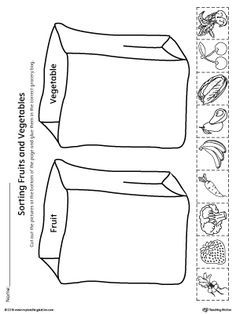 **FREE** Sorting Fruits and Vegetables in Grocery Bags Worksheet.Help your child identify the difference between fruits and vegetables by sorting the pictures into the correct grocery bag in this science printable worksheet. Kindergarten Worksheets, Worksheets For Kids, Printable Worksheets, Preschool Kindergarten, Weather Worksheets, Spanish Worksheets, Multiplication Worksheets, Writing Worksheets, Free Printables
