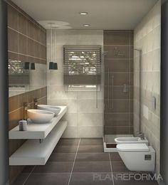 Baño, Tocador, estilo Contemporaneo color Marron, Blanco, Gris,