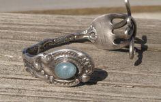 Sterling Fork Bracelet with Aquamarine. Repurposed vintage fork turned cuff bracelet. March birthstone fork bracelet by LoMoStudio on Etsy