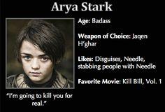 Game of Thrones Trading Cards - Arya Stark