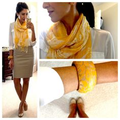 I like that this has a pop of color but is also very classic, conservative, and clean.  I have to get more scarves!
