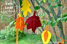 Felt Leaf Garland - Celebrate fall with this simple DIY home decor project.